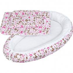 Luxusní hnízdečko s peřinkami pro miminko New Baby růžoví motýli Růžová