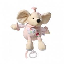 Plyšová hračka s hracím strojkem Baby Ono Myška růžová 31cm Růžová