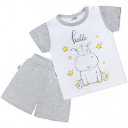 Dětské letní pyžamko New Baby Hello s hrošíkem bílo-šedé Šedá velikost - 74 (6-9m)