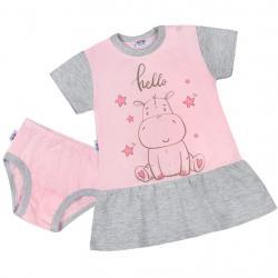 Letní noční košilka s kalhotkami New Baby Hello s hrošíkem růžovo-šedá Růžová velikost - 74 (6-9m)