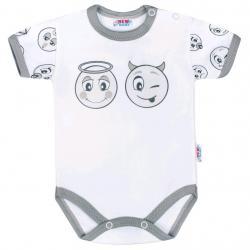 Kojenecké bavlněné body s krátkým rukávem New Baby Emotions Bílá velikost - 56 (0-3m)
