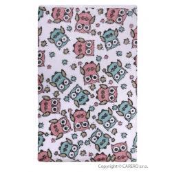 Nepromokavá podložka Akuku froté 70x50 - bílá s růžovými sovami Bílá