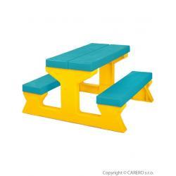 Dětský zahradní nábytek - Stůl a lavičky tyrkysovo-žlutý Tyrkysová