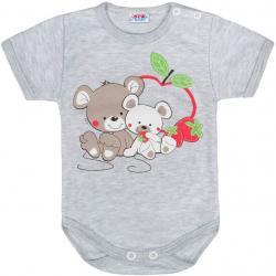 Dětské body s krátkým rukávem New Baby Myšky s jahůdkou šedé Šedá velikost - 98 (2-3r)
