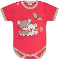 Dětské body s krátkým rukávem New Baby Myšky s jahůdkou malinové Červená velikost - 68 (4-6m)