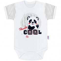 Kojenecké body s krátkým rukávem New Baby Panda Šedá velikost - 68 (4-6m)
