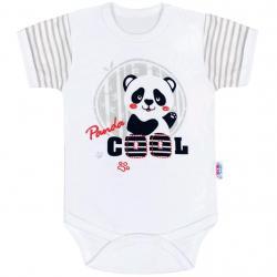 Kojenecké body s krátkým rukávem New Baby Panda Šedá velikost - 80 (9-12m)