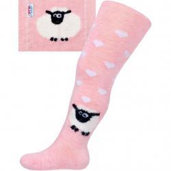 Bavlněné punčocháče 3D New Baby růžové s ovečkou Růžová velikost - 56/62