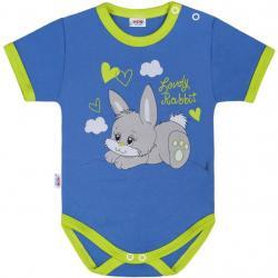 Dětské body s krátkým rukávem New Baby Lovely Rabbit Modrá velikost - 80 (9-12m)