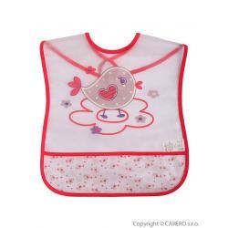 Dětský bryndák s kapsičkou Akuku s ptáčkem Růžová velikost - Délka nad 32 cm