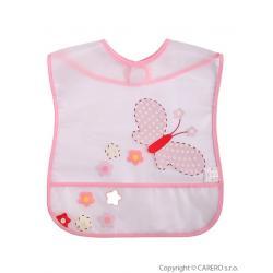 Dětský bryndák s kapsičkou Akuku s motýlkem Růžová velikost - Délka nad 32 cm
