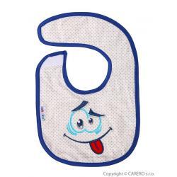 Dětský bryndák Akuku modrý s úsměvem Modrá velikost - Délka do 22 cm