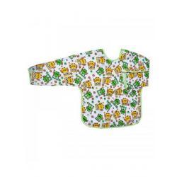 Dětský bryndák s rukávky Akuku bílý s žluto-zelenými sovičkami Bílá velikost - Délka do 32 cm