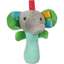 Plyšová hračka s pískátkem Akuku slon Zelená