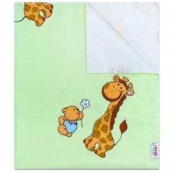 Nepromokavá flanelová podložka New Baby zelená s žirafkou Zelená