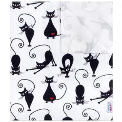 Nepromokavá flanelová podložka New Baby bílá s černou kočkou Bílá