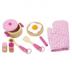 Dětské dřevěné nádobí Viga-snídaně růžové Růžová
