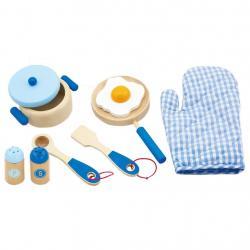 Dětské dřevěné nádobí Viga-snídaně modré Modrá