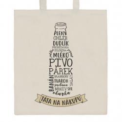 Bavlněná nákupní taška přírodní s potiskem New Baby Táta na nákupu Přírodní