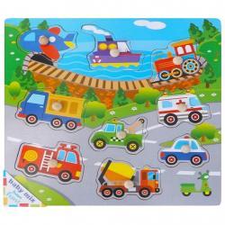 Dětské dřevěné puzzle s úchyty Baby Mix Doprava Dle obrázku
