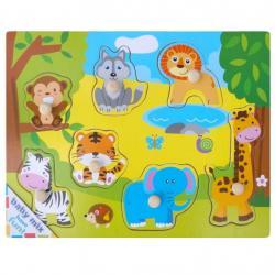 Dětské dřevěné puzzle s úchyty Baby Mix Africa Dle obrázku