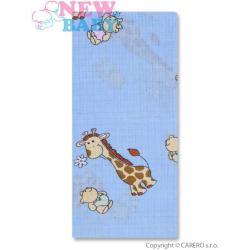 Bavlněná plena s potiskem New Baby modrá s žirafkou Modrá