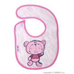 Dětský bryndák Akuku růžový s medvídkem Růžová velikost - Délka do 22 cm