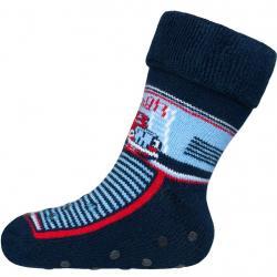 Dětské froté ponožky New Baby s ABS tmavě modré s hasičem Modrá velikost - 80 (9-12m)