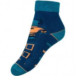 Dětské froté ponožky New Baby s ABS tmavě modré robot Modrá velikost - 80 (9-12m)