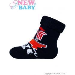 Dětské froté ponožky New Baby tmavě modré kosti Modrá velikost - 74 (6-9m)