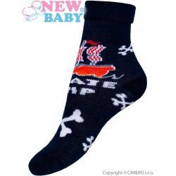 Dětské froté ponožky New Baby tmavě modré kosti Modrá velikost - 80 (9-12m)