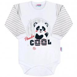 Kojenecké body s dlouhým rukávem New Baby Panda Šedá velikost - 62 (3-6m)