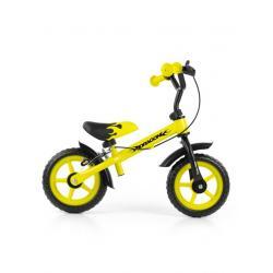 Dětské odrážedlo kolo Milly Mally Dragon s brzdou yellow Žlutá