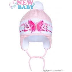 Zimní dětská čepička New Baby motýlek světle růžová Růžová velikost - 80 (9-12m)