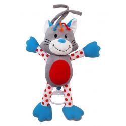 Dětská plyšová hračka s hracím strojkem Baby Mix kočička Šedá