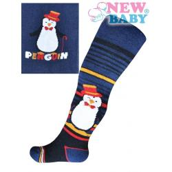 Froté punčocháčky New Baby tmavě modré s tučňákem a nápisem Modrá velikost - 68 (4-6m)
