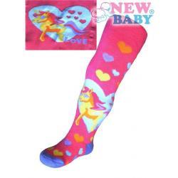 Froté punčocháčky New Baby tmavě růžové s poníkem Růžová velikost - 56 (0-3m)