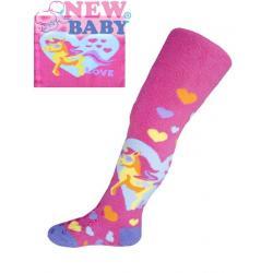 Froté punčocháčky New Baby s ABS tmavě růžové s poníkem Růžová velikost - 80 (9-12m)