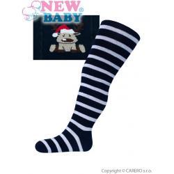 Vánoční bavlněné punčocháčky New Baby tmavě modré se sobem Modrá velikost - 104 (3-4r)