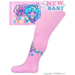Bavlněné punčocháčky New Baby s ABS světle růžové flower princess Růžová velikost - 80 (9-12m)