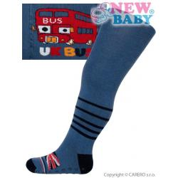 Bavlněné punčocháčky New Baby s ABS tmavě modré UK bus Modrá velikost - 92 (18-24m)