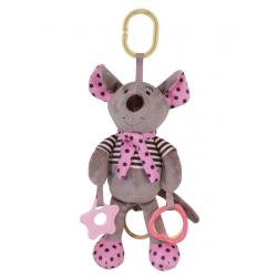 Plyšová hračka se zvukem Baby Mix Myška růžová Růžová