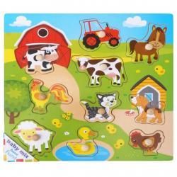 Dětské dřevěné puzzle s úchyty Baby Mix Vesnice Dle obrázku