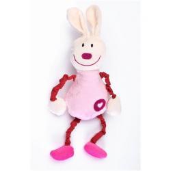 Edukační plyšová hračka Sensillo králíček s pískátkem Růžová