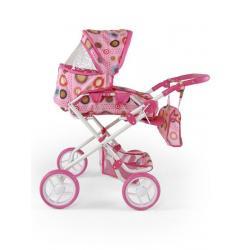 Kombinovaný kočárek pro panenky Milly Mally Paulína růžovo-hnědý Růžová