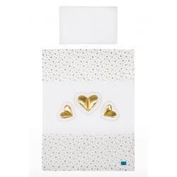 3-dílné ložní povlečení Belisima Tři srdce 100/135 bílo-zlaté Bílá velikost - 100/135 cm