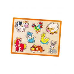 Dětské dřevěné puzzle s úchyty Viga Farma Multicolor