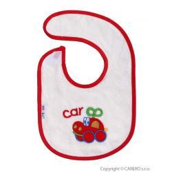 Dětský bryndák Akuku s autíčkem Červená velikost - Délka do 22 cm