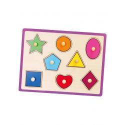 Dětské dřevěné puzzle s úchyty Viga geometrické tvary Multicolor