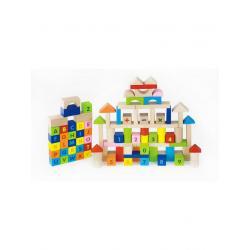 Dřevěné kostky pro děti Viga Písmenka a čísla 100 dílů Multicolor